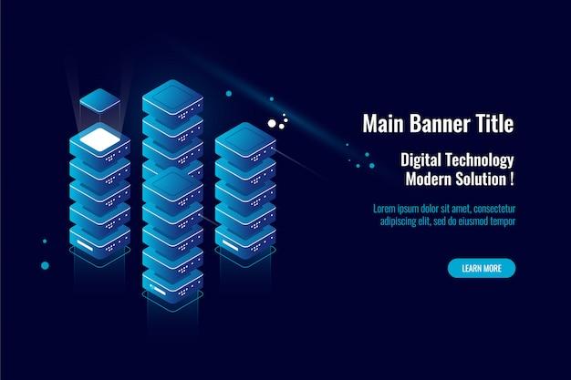 Stanza del server, grande elaborazione dei dati dell'icona isometrica, magazzino di stoccaggio della nuvola di dati, concetto del database