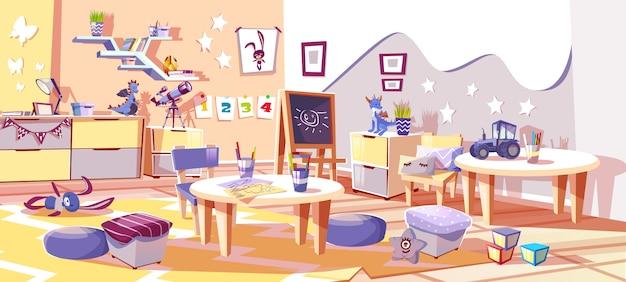 Stanza della scuola materna del bambino o illustrazione interna di asilo nello stile scandinavo accogliente.