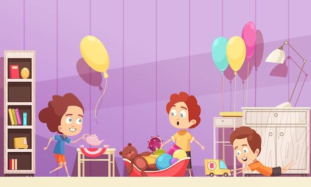 Stanza di bambini nel colore viola con l'illustrazione dei bambini