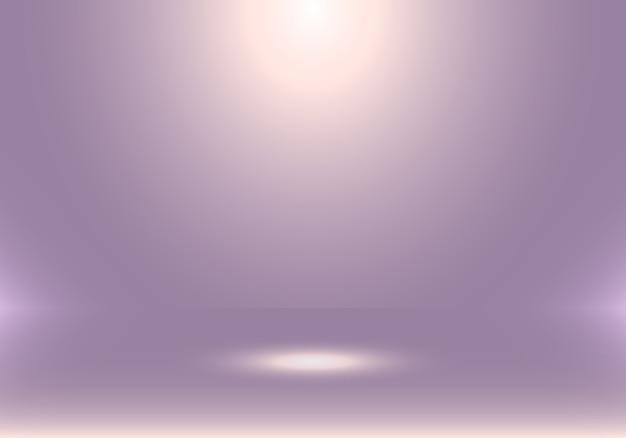 Stanza di studio vuota 3d con sfondo viola riflettori