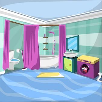 Stanza interna del bagno con tenda da doccia