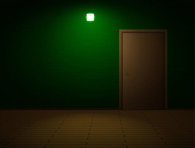 Stanza molto buia con porta