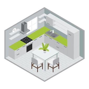 Stanza per la cottura della progettazione isometrica con l'illustrazione verde bianca di vettore del pavimento piastrellata finestra del lavandino della stufa della mobilia della cucina