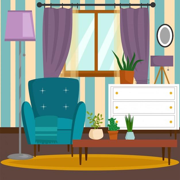 Stanza ricca ricca della casa della mobilia interna d'annata di vip con l'illustrazione stabilita del fondo del muro di mattoni del sofà.