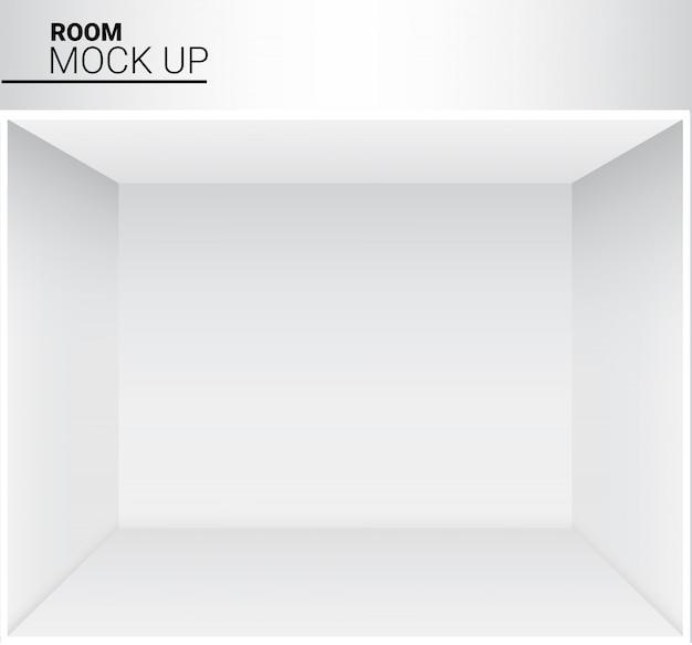 Stanza vuota bianca realistica 3d per il negozio, illustrazione di mostra del deposito