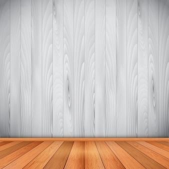Stanza vuota con pavimento e pareti in legno