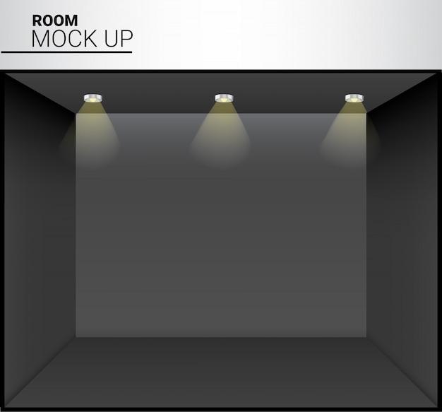 Stanza vuota nera realistica 3d con luce per il negozio, illustrazione di mostra del deposito