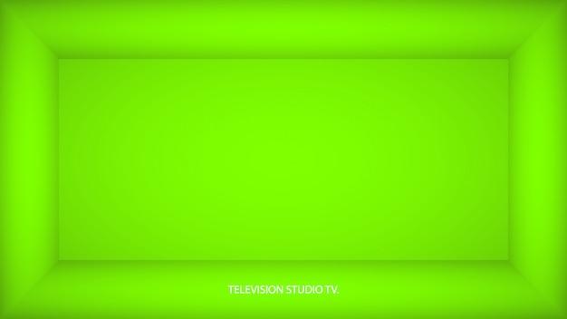 Stanza vuota verde ufo astratta, nicchia con parete verde ufo, pavimento, soffitto, lato oscuro senza trame, illustrazione 3d incolore vista dall'alto