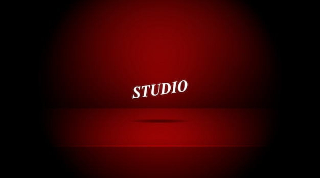 Stanza vuota vuota della tabella dello studio di colore rosso.