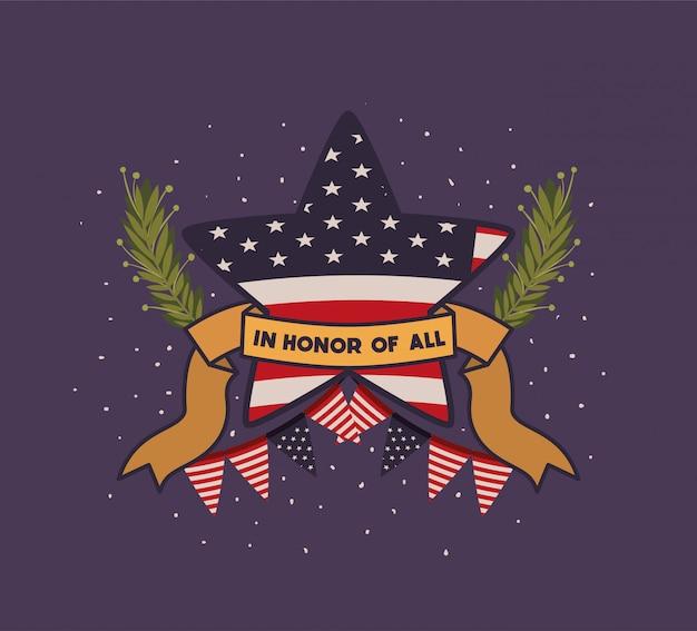 Star con la corona e la bandiera degli sua dell'emblema di giorno dei caduti