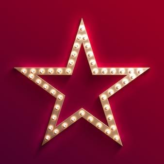 Star del cinema di hollywood con la tenda della lampadina. cornice del film d'oro retrò. segno di luce vettoriale di casinò. star con la lampadina per hollywood di film, illustrazione