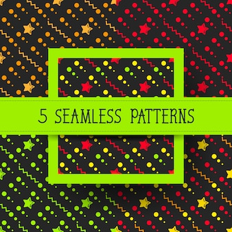Star set seamless pattern con stelle colorate