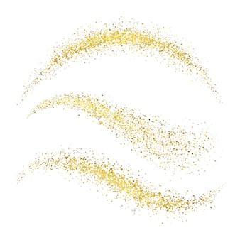 Stardust dorato di natale di fata. onde dell'oro di fascino con le stelle brillanti isolate sull'insieme bianco di vettore del fondo. luccichio dorato luccichio, splendente bagliore magico illustrazione di polvere