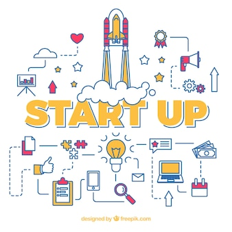 Start up concept con razzo con vari elementi