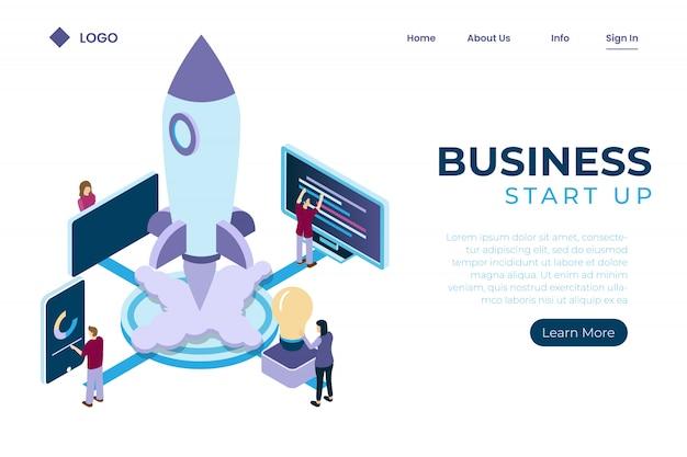 Start-up utilizzando simboli di astronavi, crescita degli investimenti in aziende online, stile isometrico di gestione del lavoro di squadra