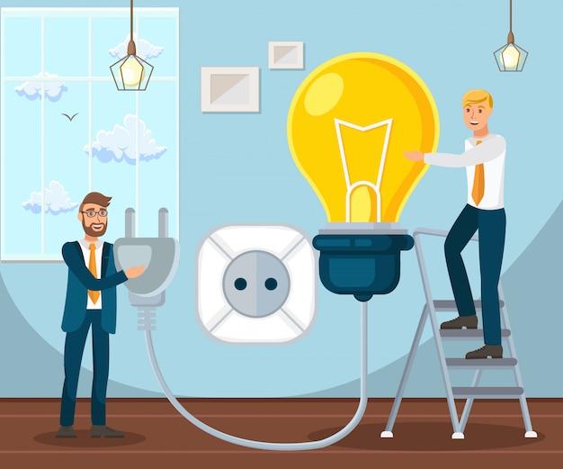 Startup di avvio coworking piatto