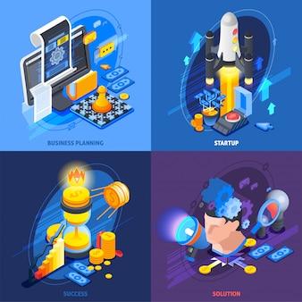 Startup imprenditoria composizione isometrica