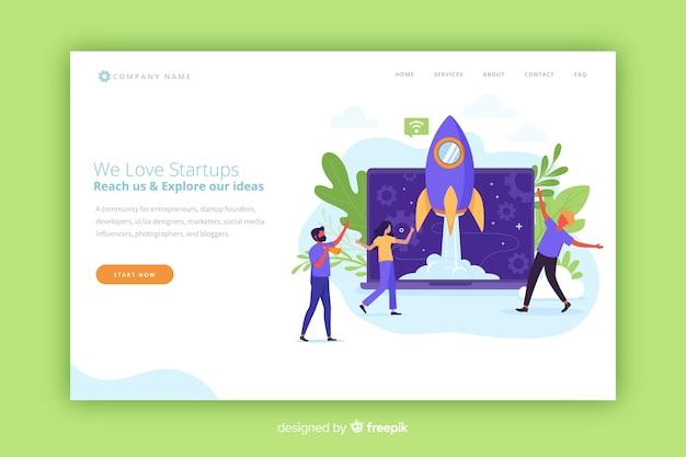 Startup moderna landing page con un razzo