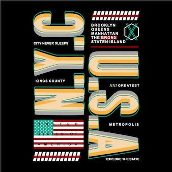 Stati uniti con il disegno di tipografia grafica astratta di linea per t-shirt di stampa pronta