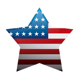 Stati uniti della bandiera americana a forma di stella