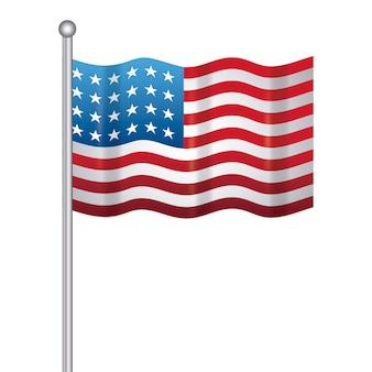 Stati uniti della bandiera americana nel bastone