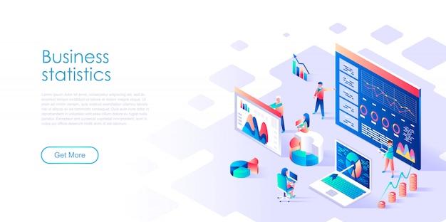 Statistica aziendale modello di pagina di destinazione isometrica