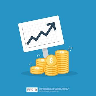 Statistica dell'aumento del tasso del dollaro di stipendio di reddito. margine di crescita dei profitti aziendali. prestazioni finanziarie del ritorno sull'investimento concetto di roi con la freccia. stile piano icona di vendita di costo