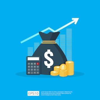 Statistica dell'aumento del tasso del dollaro di stipendio di reddito. margine di crescita dei profitti aziendali. prestazioni finanziarie del ritorno sull'investimento concetto di roi con la freccia.