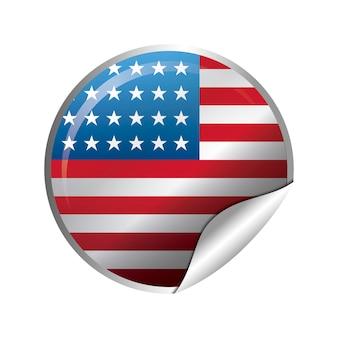 Stato unito della bandiera americana nella forma del cerchio