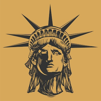 Statua della faccia della libertà disegnata a mano