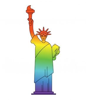 Statua della libertà con i colori della bandiera lgbt. punto di riferimento america in segno gay.
