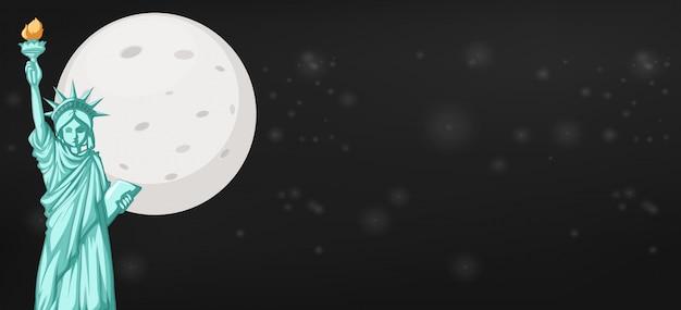 Statua della libertà con lo sfondo della luna