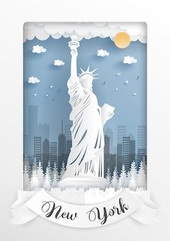 Statua della libertà, new york. punti di riferimento dell'america.