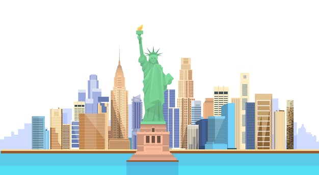 Statua della libertà stati uniti new york city view