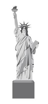 Statua della libertà su sfondo bianco, illustrazione vettoriale