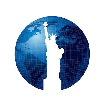 Statua della libertà su sfondo del mondo, illustrazione vettoriale