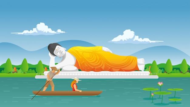 Statua di buddha addormentato con il turista che guida barca tradizionale