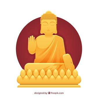 Statua dorata di budha con design piatto