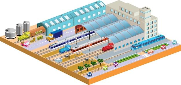 Stazione 3d con tutti gli edifici e trasporti