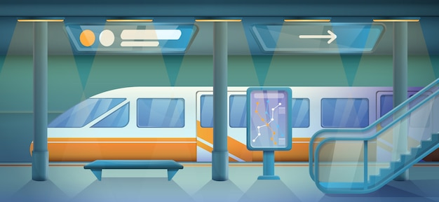 Stazione della metropolitana vuota del fumetto, illustrazione di vettore