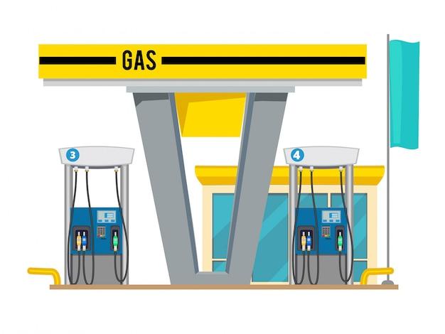 Stazione di pompaggio del gas, esterno del negozio di oli di petrolio a gas per auto sfondo cartoon