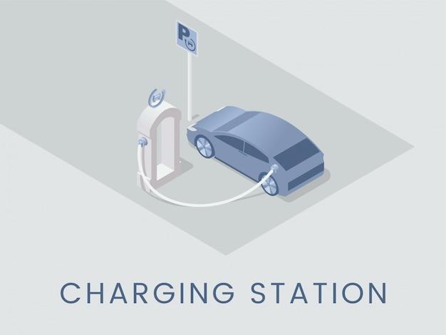 Stazione di ricarica. tecnologia ecologica, moderna idea di trasporto ecocompatibile. illustrazione isometrica del veicolo elettrico con tipografia
