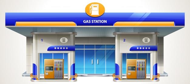 Stazione di rifornimento di gas dettagliata moderna design piatto. servizio di trasporto relativo alla costruzione benzina e stazione di servizio con negozio.