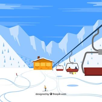 Stazione di sci disegnata a mano