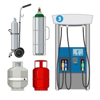 Stazione di servizio. pompaggio di tipi di benzina bombole di serbatoi metallici di pompe di benzina