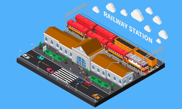 Stazione ferroviaria composizione isometrica