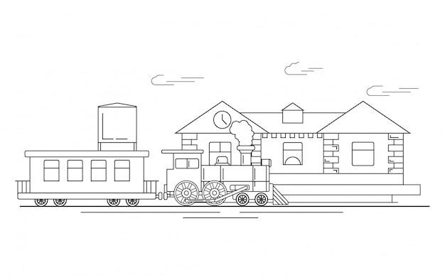 Stazione ferroviaria con locomotiva a vapore e carri