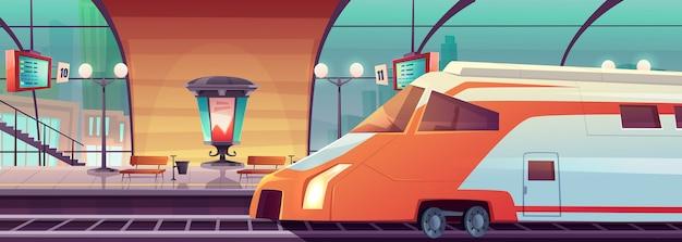 Stazione ferroviaria di vettore con treno e piattaforma
