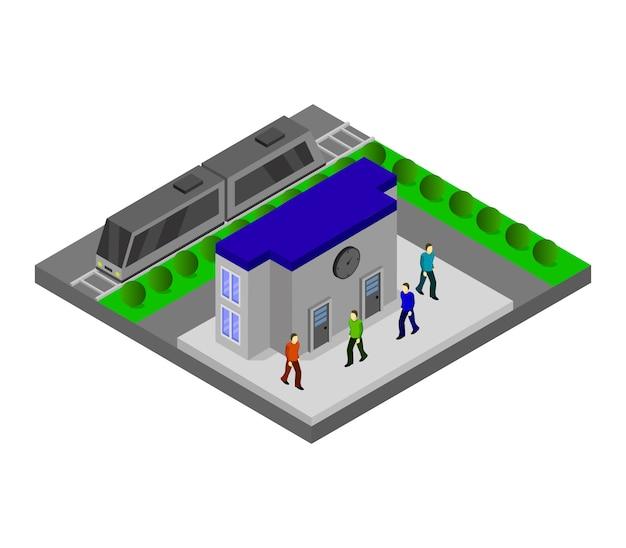 Stazione ferroviaria isometrica