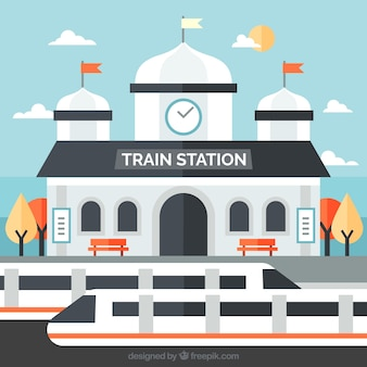 Stazione ferroviaria piatta con treni moderni